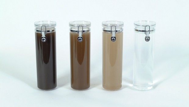 Water samples from the EnwaMatic technology. Day 1 to day 30 from left to right.